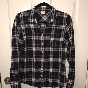 Navy Blue Plaid J.Crew Button Down Size Medium